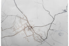 32 Walks Around Boda. Mapping of my movement around Boda during the project. Pencil on Drafting Paper