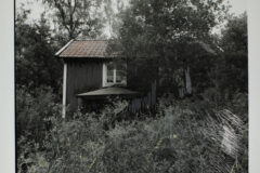Site # 2 visit # 2 House from the North West. Black and white silver gelatin print with pencil drawing.